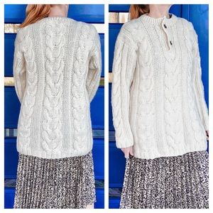 VTG Wool Cableknit Oversized Beach Sweater M/L